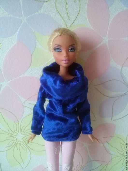 Одежда для кукол ручной работы. Ярмарка Мастеров - ручная работа. Купить Туника для Барби из бархата.. Handmade. Тёмно-синий