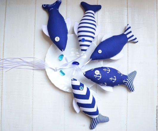 Детская ручной работы. Ярмарка Мастеров - ручная работа. Купить Текстильные рыбки  для оформления детской комнаты  в морском стиле. Handmade.