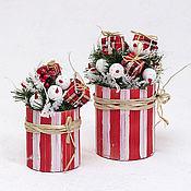 """Подарки к праздникам ручной работы. Ярмарка Мастеров - ручная работа Композиция """"Снеговички"""" красная. Handmade."""