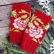 Mitts handmade. Livemaster - original item Knitted mittens with embroidery fingerless gloves for women, fingerless gloves with rose. Handmade.