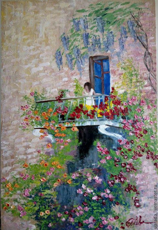 """Люди, ручной работы. Ярмарка Мастеров - ручная работа. Купить """"Девушка на балконе"""" - картина маслом.. Handmade. Комбинированный, окно, розочки"""