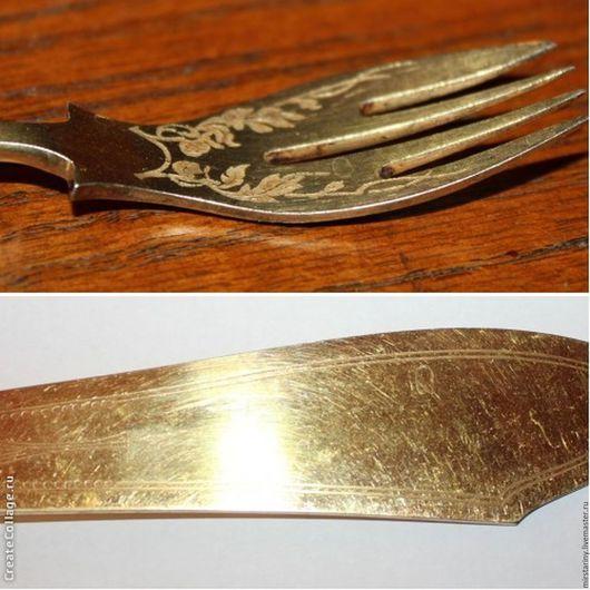 Винтажная посуда. Ярмарка Мастеров - ручная работа. Купить Старинный серебряный набор для рыбы, нож и вилка, 800 пр., Германия. Handmade.