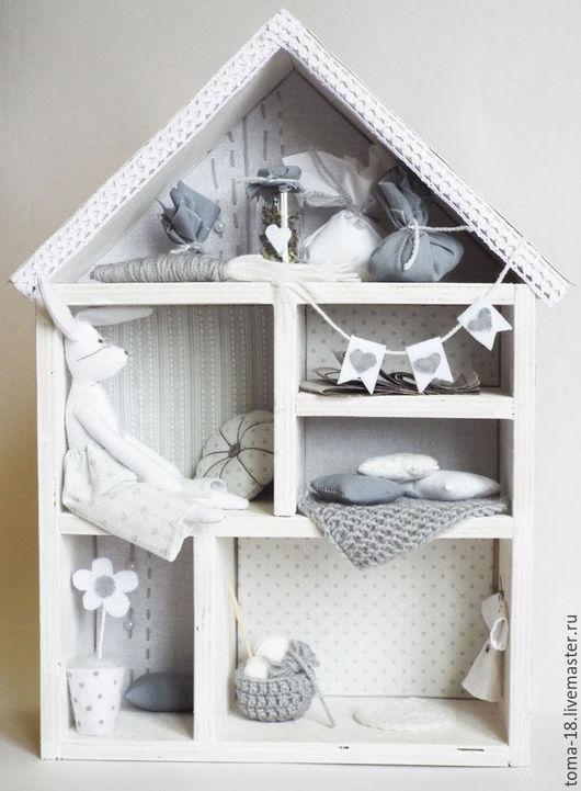 Кукольный дом ручной работы. Ярмарка Мастеров - ручная работа. Купить Домик белого кролика. Дом-витрина.. Handmade. Белый