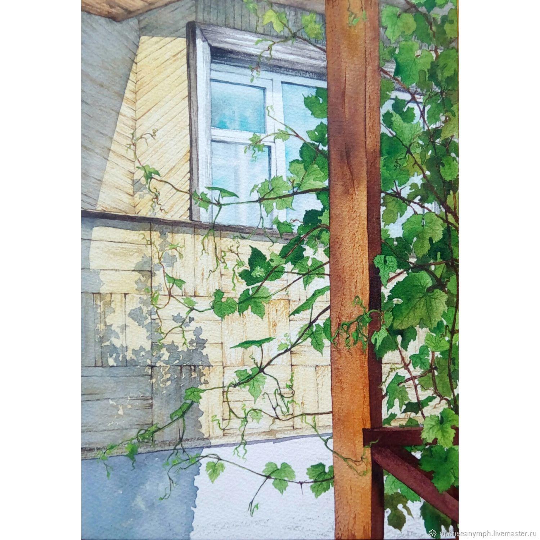 "Картина: ""Тень винограда"" 18 на 26 см, Картины, Москва, Фото №1"