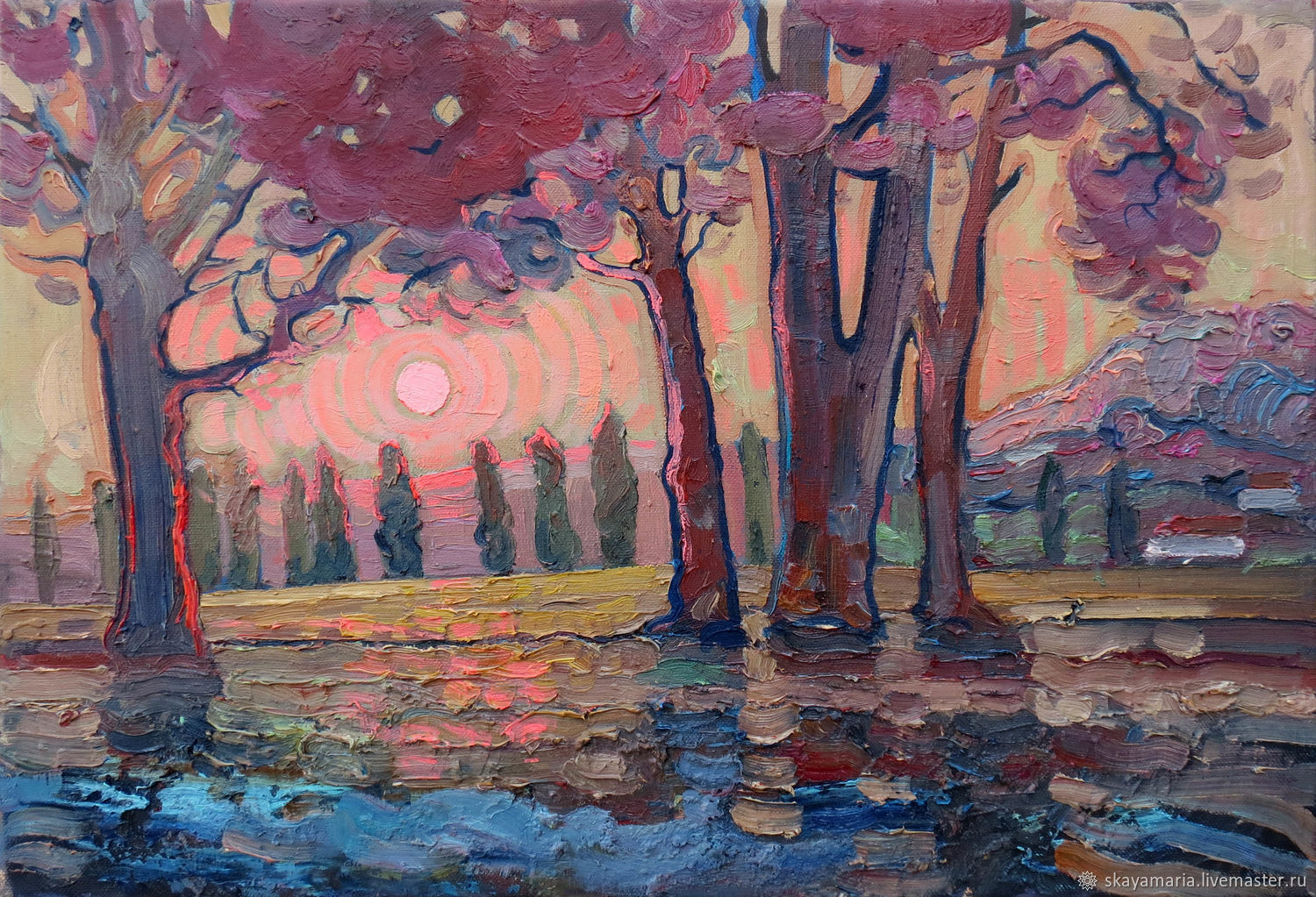 Oil painting. Sunset. Crimea. Bakhchisaray, Pictures, Moscow,  Фото №1
