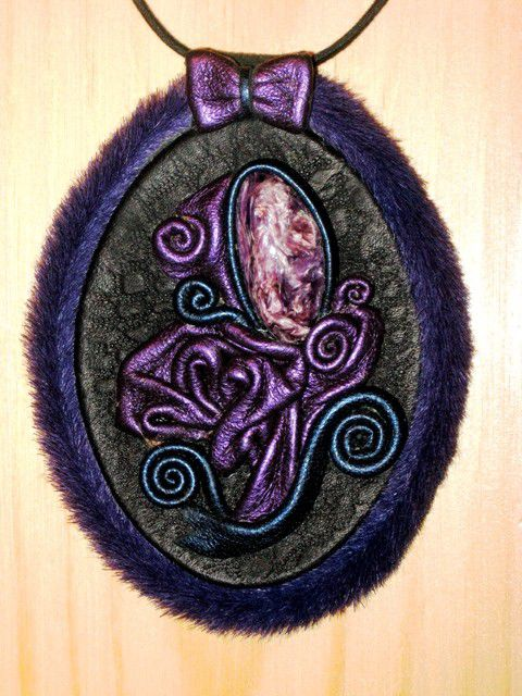"""Подвеска """"Фиолет"""" из натуральной кожи и камня, Подвеска, Санкт-Петербург,  Фото №1"""