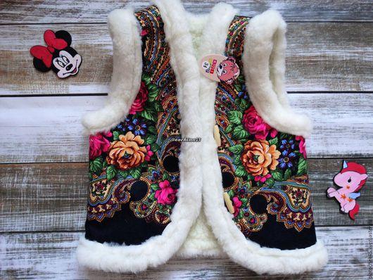 """Одежда для девочек, ручной работы. Ярмарка Мастеров - ручная работа. Купить Детский жилет из шерсти """"Опушка"""". Handmade. Цветочный"""