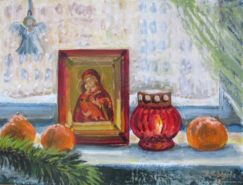 Elena Shvedova oil Painting `Till the first` ( art oil on cardboard) 30h40 unframed.