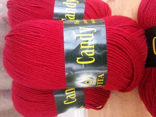 Вязание ручной работы. Ярмарка Мастеров - ручная работа. Купить Пряжа для вязания Candy VITA шерсть глубокий красный. Handmade.