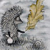 """Футболки ручной работы. Ярмарка Мастеров - ручная работа Футболки """"Ёжик в тумане с листочком"""". Handmade."""
