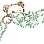 Дизайн и реклама ручной работы. Ярмарка Мастеров - ручная работа мишка с бантом апликация дизайн машинной вышивки. Handmade.