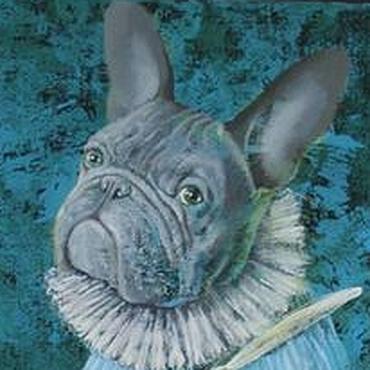 Картины и панно ручной работы. Ярмарка Мастеров - ручная работа Маленький Бульдожек с зайчиком. Handmade.