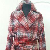 Одежда ручной работы. Ярмарка Мастеров - ручная работа 353: длинное пальто халат с поясом, пальто в клетку, пальто прямое. Handmade.