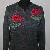Одежда ручной работы. Ярмарка Мастеров - ручная работа Кофта с вышивкой. Маки. Handmade.