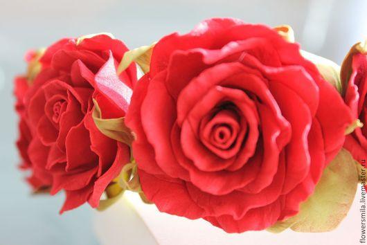 """Диадемы, обручи ручной работы. Ярмарка Мастеров - ручная работа. Купить Ободок """"Красные розы"""". Handmade. Ярко-красный, фоамиран"""