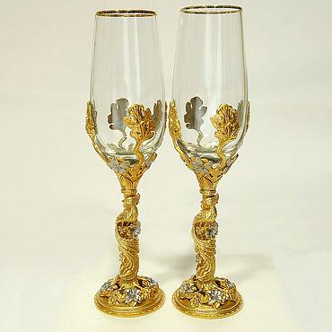 Свадебный салон ручной работы. Ярмарка Мастеров - ручная работа Подарочные фужеры для шампанского. Handmade.