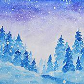 """Картины и панно ручной работы. Ярмарка Мастеров - ручная работа """"Снежный вечер"""". Рисунок акварелью. Handmade."""