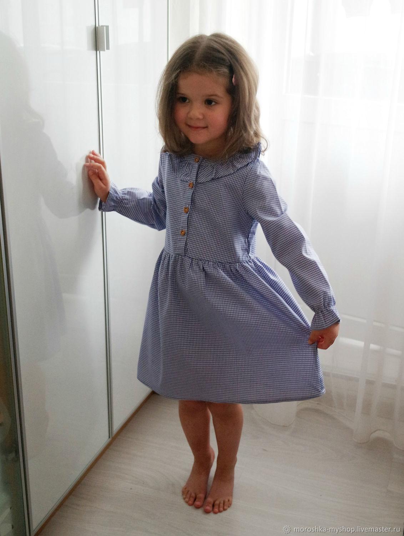 Платье в клеточку с длинным рукавом, синее, Платья, Санкт-Петербург, Фото №1