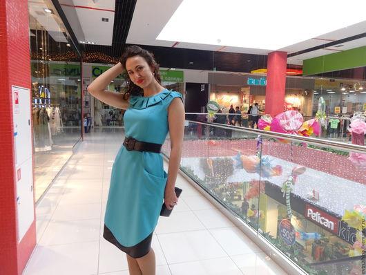 """Платья ручной работы. Ярмарка Мастеров - ручная работа. Купить Женское платье 46 размер """"Лазурь"""". Handmade. Бирюзовый"""