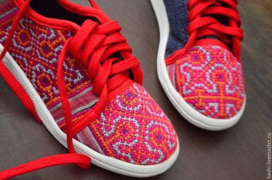 Обувь ручной работы. Ярмарка Мастеров - ручная работа. Купить этно кеды. Handmade. Разноцветный, бохо шик, вышивка