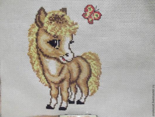 """Животные ручной работы. Ярмарка Мастеров - ручная работа. Купить Вышитая картинка """"Веселая лошадка"""". Handmade. Комбинированный, вышивка"""