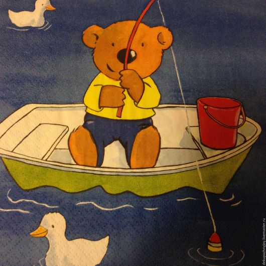 Мишка на рыбалке и влюбленная пара Мишек в лодке - салфетка для декупажа Декупажная радость