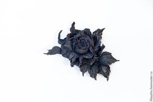 """Броши ручной работы. Ярмарка Мастеров - ручная работа. Купить Брошь роза из кожи """"Вечерняя заря"""". Handmade. Тёмно-синий"""