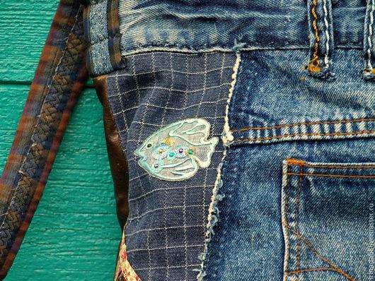 Женские сумки ручной работы. Ярмарка Мастеров - ручная работа. Купить Торба Рыбка моя. Handmade. Синий, джинсовая сумка