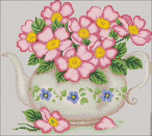 Схема для вышивания чешским бисером `Цветочный чайник`