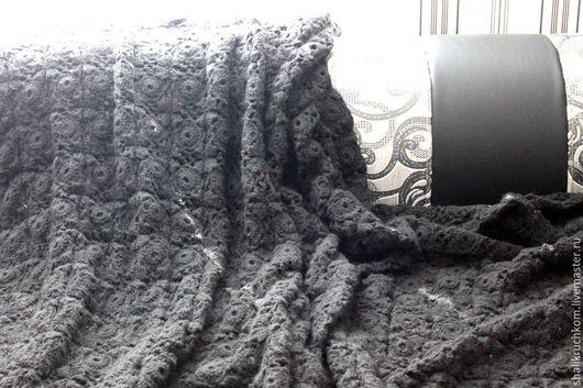 Текстиль, ковры ручной работы. Ярмарка Мастеров - ручная работа. Купить Вязаный огромный шерстяной плед Черная жемчужина. Handmade.