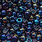 Материалы для творчества handmade. Livemaster - original item 10 grams of 10/0 seed Beads, Czech Preciosa 61100 Premium dark blue rainbow. Handmade.