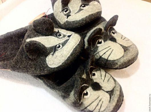 Обувь ручной работы. Ярмарка Мастеров - ручная работа. Купить Валяные тапки - Семейная пара. Handmade. Серый, тапки валяные