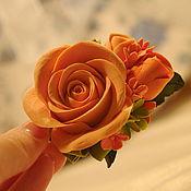 """Украшения ручной работы. Ярмарка Мастеров - ручная работа заколка из полимерной глины deco """"Апельсиновые розы"""". Handmade."""