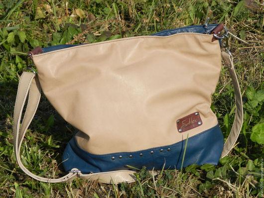 Женские сумки ручной работы. Ярмарка Мастеров - ручная работа. Купить кожаная сумка повседневная - бежевая-синяя. Handmade. Бежевый