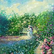 Картины и панно handmade. Livemaster - original item Oil painting on canvas, 35/40. The girl on the bench.. Handmade.