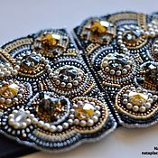 Аксессуары handmade. Livemaster - original item Black wide elastic belt bead embroidery swarovski Royal luxury gold. Handmade.