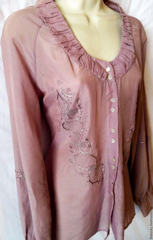 Одежда. Ярмарка Мастеров - ручная работа. Купить Шёлк Хлопок Вышивка Изысканная Блуза. Handmade. Бледно-сиреневый, идеальный подарок