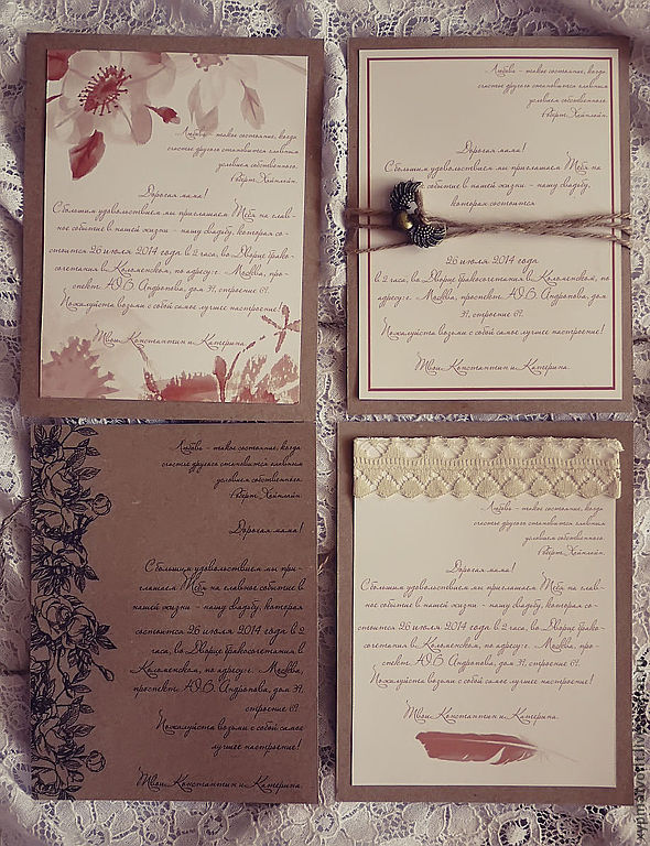 Wedding Accessories handmade. Livemaster - handmade. Buy Invitation.Wedding, white, invitation, roses, brown, flowers, design, rustic style