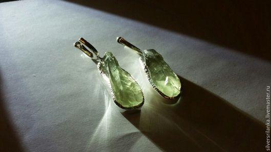Серьги ручной работы. Ярмарка Мастеров - ручная работа. Купить Серьги с празиолитами негранеными. Handmade. Камни натуральные, серьги