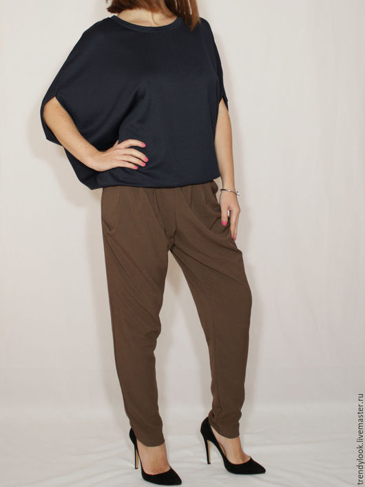 Брюки, шорты ручной работы. Ярмарка Мастеров - ручная работа. Купить Офисные брюки галифе,коричневые брюки с карманами,гаремные штаны. Handmade.