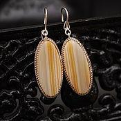 Винтаж handmade. Livemaster - original item Vintage earrings with natural agate silver USSR. Handmade.