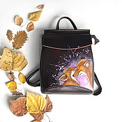 Backpacks handmade. Livemaster - original item Women`s leather backpack with hand painted Fox. Handmade.
