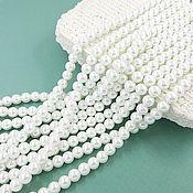 Материалы для творчества handmade. Livemaster - original item Thread 42 cm Glass Beads for Pearls 6 mm (3256-6). Handmade.