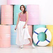 Одежда handmade. Livemaster - original item Linen skirt with pleats white. Handmade.