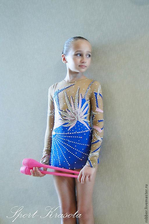 Танцевальные костюмы ручной работы. Ярмарка Мастеров - ручная работа. Купить Купальник (костюм для выступлений) для художественной гимнастики. Handmade. Синий
