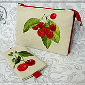 Сумки и аксессуары handmade. Livemaster - original item Cosmetic bag, textile, three sections cherry. Handmade.
