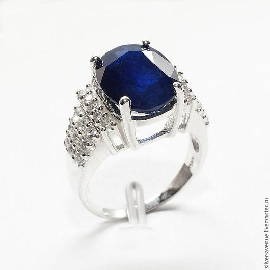 Кольцо ручной работы с глубоким синим сапфиром (7,45 ct), серебро 925