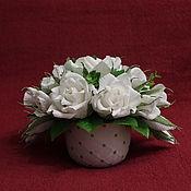 Букеты ручной работы. Ярмарка Мастеров - ручная работа Букет из роз в чашке белый. Handmade.
