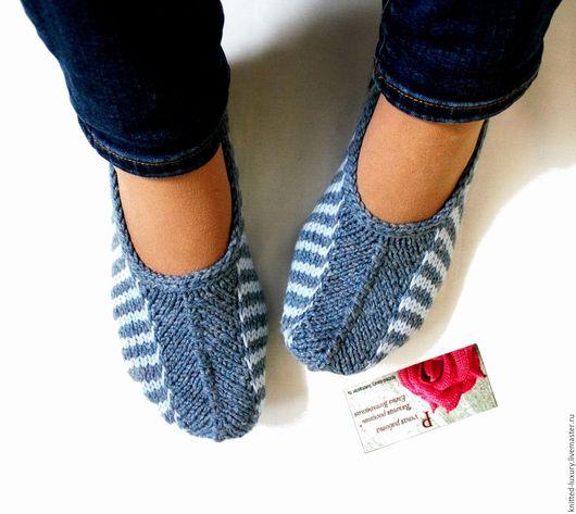 """Носки, Чулки ручной работы. Ярмарка Мастеров - ручная работа. Купить Вязаные следки """"Яркая полоса"""" Полушерсть носки-тапочки. Handmade."""