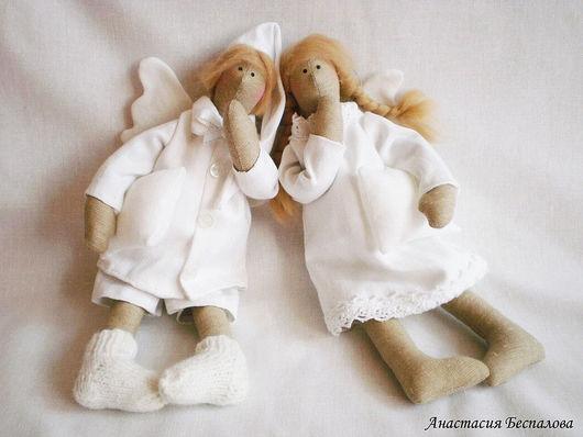 Куклы Тильды ручной работы. Ярмарка Мастеров - ручная работа. Купить сонные ангелы. Handmade. Ангелы, нежность, розовое, хлопок